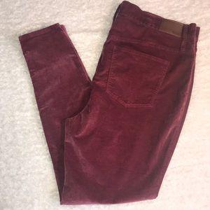 Madewell Burgundy Jeans High Rise Skinny 35T